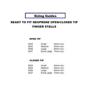 Ready to Fit Neoprene Open & Closed Tip Finger Stalls